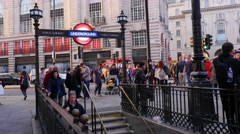 Subway Underground Train  Entrance  london - time laps Stock Footage