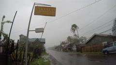 Hurricane Strong Wind Rain Lash Town Stock Footage