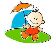 Little baby holding umbrella Piirros