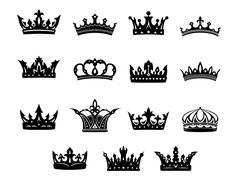black and white royal crowns set - stock illustration