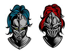 Knight heads in medieval armour Stock Illustration