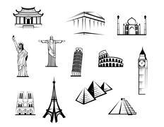 Black and white worldwide landmarks set Stock Illustration