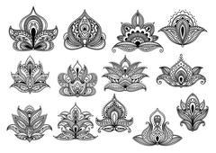 Large set of ornate floral design elements Stock Illustration
