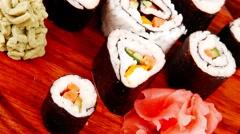 Maki sushi rolls Stock Footage