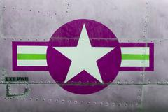 Tail of vietnam war airplane, purple Stock Photos