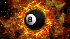Fiery Pool Billiard Ball Background, with Alpha Channel Stock Footage