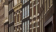 Typical architecture of dutch buildings front Stock Photos