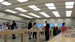 time lapse of people buying new iphone inside apple store - stock footage