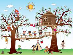 Tree house with children Stock Illustration