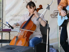 Woman violoncellist. Related clips are in my portfolio in 1920x1080. Stock Footage