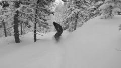Freeriding on snowboard on powder day Stock Footage
