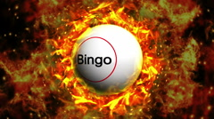 Fiery Bingo Ball Background, with Alpha Channel Stock Footage