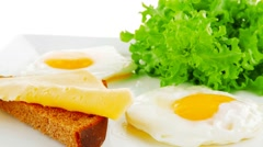 Eggs and gold cheese Stock Footage