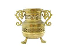 Old brass vessel on white - stock photo