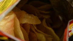 Snacks on a table, potato chips Stock Footage