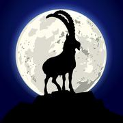 Goat moon Stock Illustration