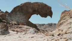 Lion's Slab of Twyfelfontein in Namibia, revealing pan shot Stock Footage