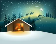 Nativity scene - stock illustration