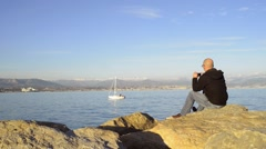 Mobile Photography Tourism: Sea and Mountain View Antibes France Stock Footage
