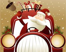 Santa Claus driving a car - stock illustration