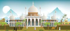 palace in the arabian city - stock illustration