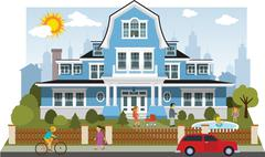 victorian family house - stock illustration