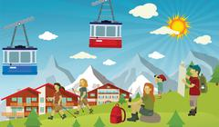 Tourists in the alps Stock Illustration