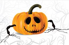 Stock Illustration of halloween pumpkin with hands