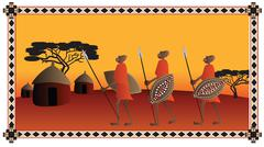 African warriors going to the their village Stock Illustration
