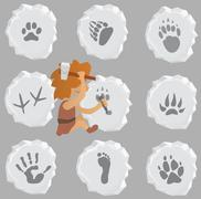 Prehistoric stone mason makes animal and human signs Stock Illustration