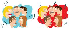 happy and angry people - stock illustration