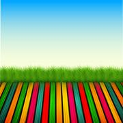 Vector wooden floor with grass, sky Stock Illustration