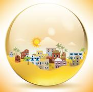 Oriental city in a glass sphere Stock Illustration