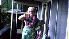Happy WOMAN Hawaii Tourist Vacation Beach Vintage Film Home Movie Retro 8157 Stock Footage