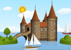 castle on the river - stock illustration