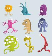 Funny creatures from another planets Stock Illustration