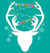 Reindeer white hang christmas accessories on green background Stock Illustration