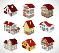 townhouses in perspective - stock illustration