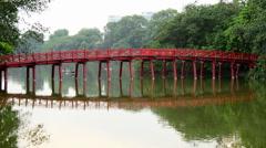 Hanoi Vietnam  - Scenic The Huc Bridge on Hoan Kiem Lake Stock Footage
