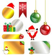 merry christmas and new year promotion label - stock illustration