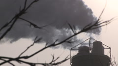 Smoke stacks climate change emissions pollution air quality global warming Stock Footage