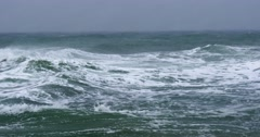 4K UHD. Rough sea with snow storm Stock Footage