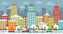 City in winter days Stock Illustration