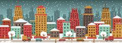 Stock Illustration of city in winter days