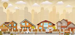life in the city - stock illustration