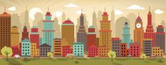 city life (retro colors) - stock illustration