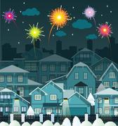 Night city and fireworks Stock Illustration