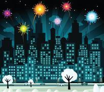 Night city and fireworks (new year celebration) Stock Illustration
