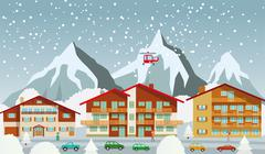 The tourist center in the alps (winter) Stock Illustration