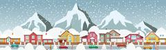 Small town in the alps Stock Illustration